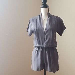Geren Ford silk grey pleated shorts romper XS